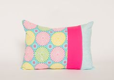 Patchwork Pillow Cover, Bright Colors, Lumbar Pillow, 12x16 Inches, Pink, Blue, Yellow, Green, Nursery, Living Room, Girls