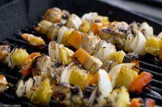 Shish Kabobs w/Marinade recipe:  Shrimp, chicken, pineapple, mushrooms, onions, peppers