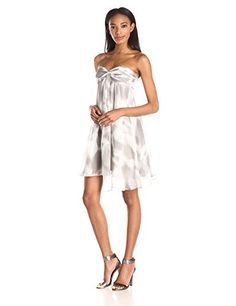 HALSTON HERITAGE Womens Crinkle Chiffon Strapless Front Drape Cocktail Dress MistWhite Blurred Floral Print 8 *** Check out the image by visiting the link.