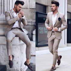Wedding suits men - Men Wedding Suits Prom Best Man Suit (Jacket+Pants+Bow) myshoponline com Mens Casual Suits, Formal Suits, Men's Suits, Mens Fashion Suits, Tan Suit Men, Prom Suits For Men, Trendy Suits, Outfit Hombre Formal, Formal Men Outfit
