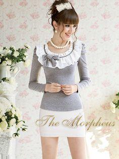 Grey Ruffle Long Sleeve Princess Shoulder Trendy Shirt