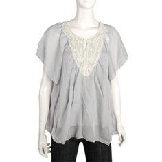 Allegra K Light Gray Cap Sleeve Scoop Neck Blouse for Ladies Sz S Allegra K. $9.25