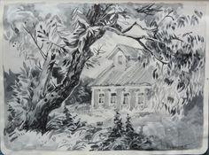 """Ива в Кудрино"", watercolor, Maria Apriatova, 2015"