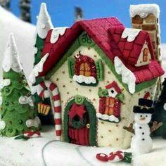 Bucilla Mary's Snow Cottage ~ Felt Christmas Home Decor Kit House Christmas Village Houses, Christmas Gingerbread House, Christmas Villages, Christmas Home, Christmas Crafts, Gingerbread Houses, Christmas Express, Felt Christmas Decorations, Felt Christmas Ornaments