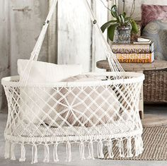 Hanging bassinet. How adorable is this?