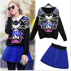 Casual Animal Prints Loose Sweater And Skirt Two-Piece