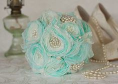 Off white, blue and mint satin, chiffon and Lace Bridesmaids Bouquet, Vintage Inspired Fabric Brooch Burlap Wedding Bouquet by MyVintageWeddingAust on Etsy Fabric Bouquet, Fabric Brooch, Fabric Flowers, Lace Bridesmaids, Bridesmaid Bouquet, Free Wedding Invitations, Bridal Sash, Bridal Shower, Wedding Brooch Bouquets