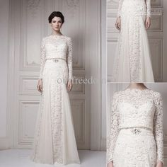 A Line Wedding Gowns 2015 New Vintage Wedding Dresses With Bateau Long Sleeve Cool Muslim Floor Length Lace Ersa Atelier Bridal Gown In White And Ivory Color Muslim Wedding Dresses From Ourfreedom, $183.25| Dhgate.Com