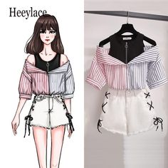 plus size 2 pieces shorts sets summer Sweet Korean off shoulder tops and shorts 2 pieces sets women clothing two pieces outfits Girls Fashion Clothes, Teen Fashion Outfits, Mode Outfits, Cute Fashion, Girl Outfits, Clothes For Women, 2 Piece Outfits, Summer Outfits, Cute Casual Outfits