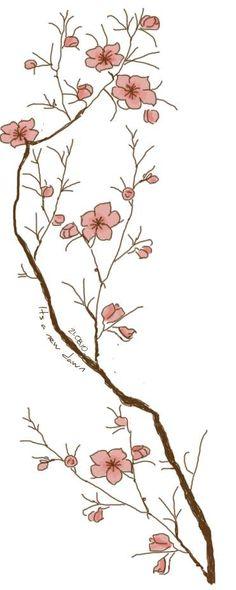 Modèle d'un tatouage de branche de cerisier en fleur.