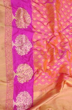 Shop online for Pink Katan Silk Weaved Banarasi Saree Banarasi Sarees, Silk Sarees, Saree Models, Buy Sarees Online, Saree Wedding, Pink, Stuff To Buy, Shopping, Blouses