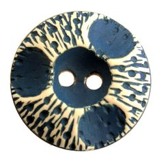VINTAGE BUFFED CELLULOID BUTTON BLUE WHITE