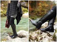Frye Melissa Tab Tall black riding boots, classic riding boot style, oversized poncho with leggings and boots, plaid poncho outfit, best riding boots for fall