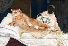 Russian Artist, Svetlana Petrova, Inserts Her Fat Cat Into Iconic Paintings