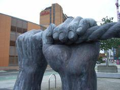 Hands sculpture on Bute Terrace