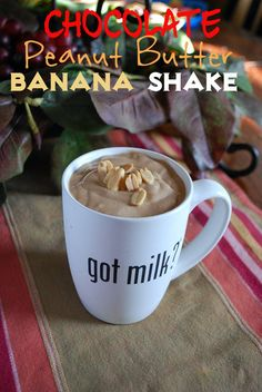 Chocolate Peanut Butter Banana Protein Shake recipe, baby! Protein-packed awesomeness, oh yeah!