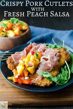 Crispy Pork Cutlets with Fresh Peach Salsa | Garlic + Zest