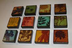 Green Pod Flowers Painted Art Block MatchBlox1714 by MatchBlox