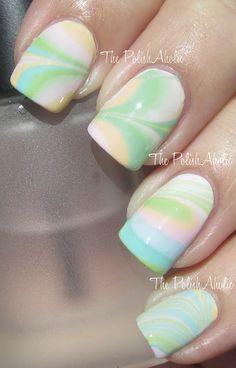 Jessica Gelato Mio shades marble nail art.