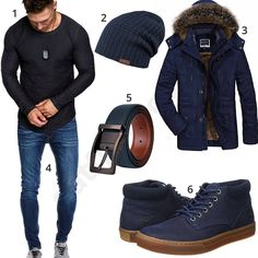 Dunkelblaues Outfit mit anthrazitem Longsleeve (m0704) #outfit #style #herrenmode #männermode #fashion #menswear #herren #männer #mode #menstyle #mensfashion #menswear #inspiration #cloth #ootd #herrenoutfit #männeroutfit