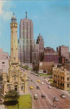 Looking north from Water Tower to Drake Hotel, Chicago (1950s)