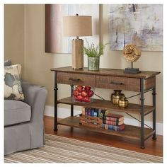 Darby Home Co Roxborough Media Console Table Finish: Oak Tv Stand Dark Brown, Consoles, Sofa Tables, Console Tables, Buffet Tables, Traditional Furniture, Wooden Shelves, Wood Veneer, Wood Species
