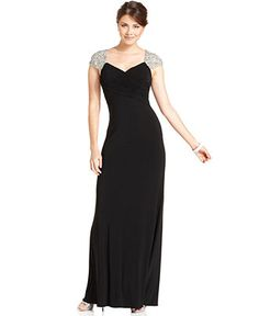 For the Christmas party? JS Boutique Dress, Cap-Sleeve Beaded Pleated Evening Gown - Womens Dresses - Macy's
