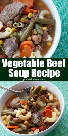 Easiest homemade vegetable beef soup recipe ever! Combines tender beef stew meat, corn, beans, tomatoes, green beans, and pasta in a delicious beef broth for the perfect cold-weather antidote.