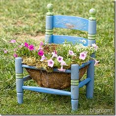 To create your own version, simply remove the seat or cut a hole in it and make a wire frame from chicken wire. Line the frame with coconut fiber, fill it with potting mix, and you're ready to plant.