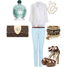 Brown and light blue, created by ipekgultekin on Polyvore
