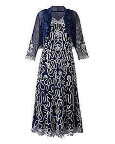 very mob i like this type of embroidery only Nightingales Cornelli Dress & Shrug Chain Stitch Embroidery, Types Of Embroidery, Shrug For Dresses, Stunning Summer, Summer Maxi, Occasion Wear, Plus Size Dresses, Plus Size Fashion, Bodycon Dress