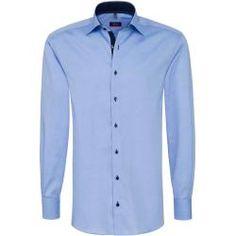 Einhorn Hemd HENRY 12 Arm Slim Fit gestreift hellblau