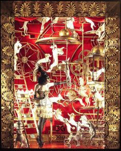 Dozens of dogs leap around this scarlet-red-and-gold window, hopping from ladders to bicycles and hanging trapeze elements, all inspired by circus dog acts during the Art Deco period.