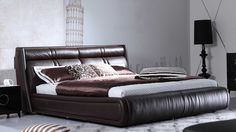 Soho Leather Contemporary Platform Bed - Brown | Zuri Furniture