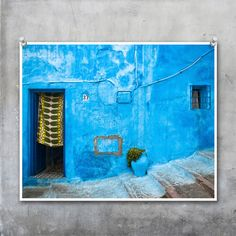 Blue Painted Moroccan House Wall with Green by EyeshootPhotography, £23.10