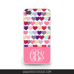 Pink Hearts Phone Case, Monogram, Personalized, iPhone 4 4s 5 5s 5C, Samsung Galaxy s3 s4 s5, BlackBerry z10 Q10, Phone Cover - K345