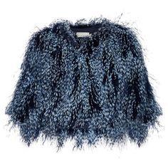 Spike feather cropped jacket Mary Katrantzou MATCHESFASHION.COM (€1.100) ❤ liked on Polyvore featuring outerwear, jackets, fur, mary katrantzou, tops, cropped fur jacket, fur jacket, blue jackets, feather jacket and blue cropped jacket