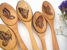 Set of 5 Teaspoons Butterflies on Wooden Coffee or by RivdomArt