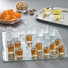 @Overstock - Game Night Shot Glass Checkers - Shot glass checkers make for a fun and interesting game night. This shot glass checkers set features a mirrored game board.    http://www.overstock.com/Home-Garden/Game-Night-Shot-Glass-Checkers/5199399/product.html?CID=214117  $24.49