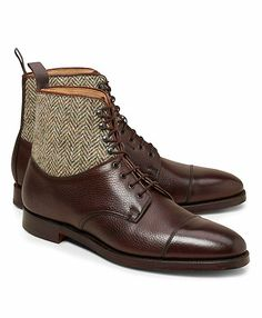 want these // Brooks Bros tweed + leather boots