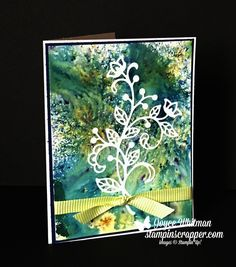 This is my first card using the Brusho Crystal Colours from Stampin' Up! in the 2018 Occasions catalog.  You could use this card for so many occasions, birthday, get well, anniversary, wedding, thank you, sympathy just to name a few.  I also used the Flourish Thinlits.