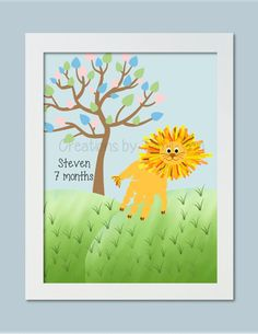 Lion Handprint Art Personalized Baby by CreationsbyTamiLynn, $20.00