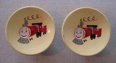 2 Vintage Amerock Nursery Storybook Drawer Knobs Enamel Toy Train Yellow Cute! #Amerock
