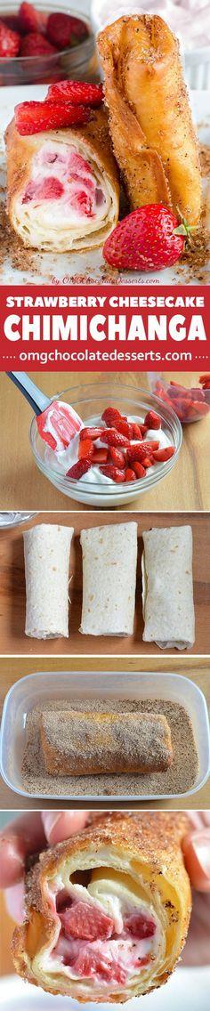 Strawberry Cheesecake Chimichangas Recipe - cheesecake, dessert recipes, strawberry, yummy