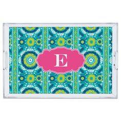 """Whitney English Suzani Single Initial Lucite Tray Size: 3"""" H x 12"""" W x 12"""" D, Letter: K"""