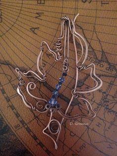 Four inch copper leaf pin with swarovski tanzanite bicones
