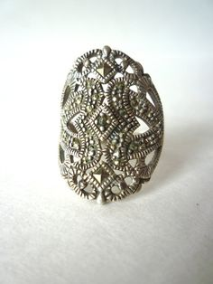 Vintage Marcasite Cocktail Ring 925 Sterling Silver by TaMuidBeo, $50.00