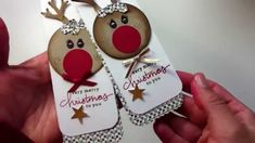 Reindeer Gift tag using the Tree Builder Punch Stampin Up