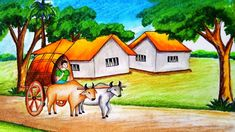Very easy drawing scenery of bullock cart step by step.It is a clear-cut,easily understood detailed method to help you. Oil Pastel Paintings, Oil Pastel Drawings, Oil Pastel Art, Indian Paintings, Colorful Drawings, Scenery Paintings, Beautiful Scenery Drawing, Scenery Drawing For Kids, Art Drawings For Kids