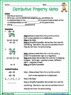 Printables Math Properties Worksheet coloring worksheets and note on pinterest this distributive property resource contains notes a page whats included two scaffolded worksheet that includes notes